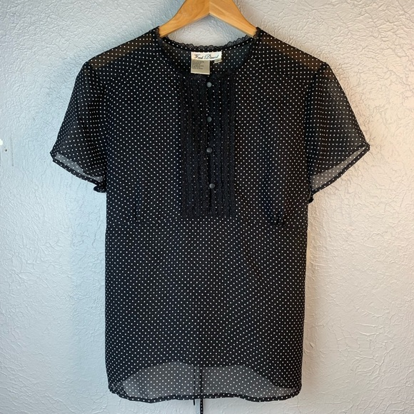 Fred David Tops - Fred David Black & White Polka Dot Blouse XL